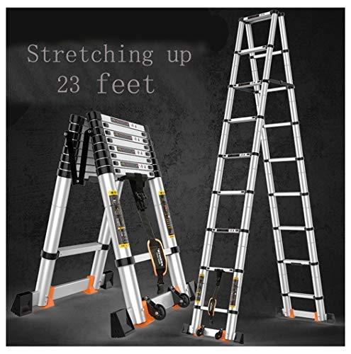Escalera telescópica profesional, plegable, extensible de aluminio, multiusos de 6 m con bloqueo de resorte, ladder 3.8M+ 3.8
