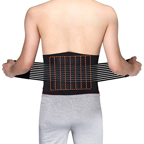 Medical Grade 8 Splints Stabilizing Lumbar Lower Back Brace and Support Belt with Dual Adjustable Straps and Breathable Mesh Panels, Wide Lumbar Support Area by OasisSpace (M 23-30