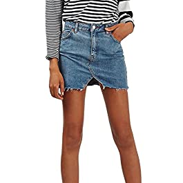 Women Summer Casual High Waist Denim Mini Skirts A-line Jean Skirt