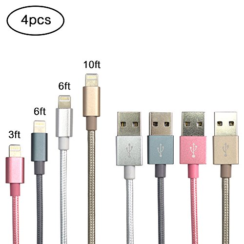 Lightning Cable, ZIKO 4 Pack 3FT 6FT 6FT 10FT Charging Cable USB Sync Cable Nylon Braided Cord to USB Charging for iPhone 7/7 Plus7/6/6 Plus/6s/6s Plus/5/5s/5c/SE/iPad Rose /Silver/Grey/Gold
