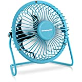 Homeleader Mini Personal Fan, Portable Metal USB Mini Table Fan with Upgraded 4 Inch Blades, Blue