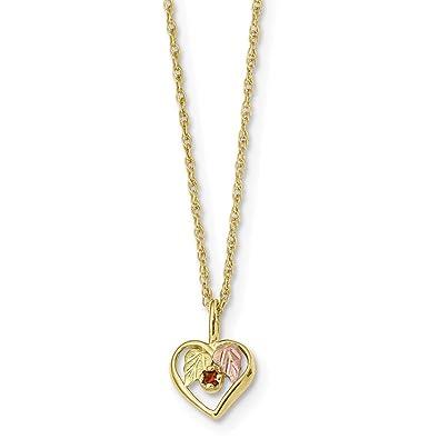 e0e6890d5 Image Unavailable. Image not available for. Color: 10k Tri Color Black  Hills Gold Heart Red Garnet Chain Necklace Pendant ...