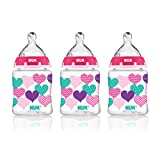 NUK 14060 Hearts Baby Bottle with Perfect Fit Nipple, 5 Ounces, 3 Pack