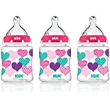 NUK 14060 Hearts Baby Bottle with Perfect Fit Nipple, Slow Flow, 5 Ounces, 3 Pack