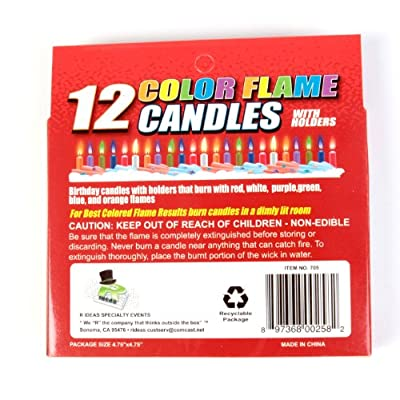 R Ideas Set of 12 Colorflame Birthday Candles With Colored Flames: Home Improvement