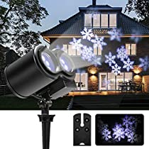 LED Projector Light B-right Snowflake Landscape Lamp Christmas Window Decoration Projection Spotlight Waterproof Sparkling Light for Indoor Outdoor Party
