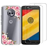 Moto Z Play Case with 2 Pack Glass Screen Protector Phone Case for Men Women Girls Clear Soft TPU with Protective Bumper Cover Case for Motorola Moto Z Play Droid-Rose