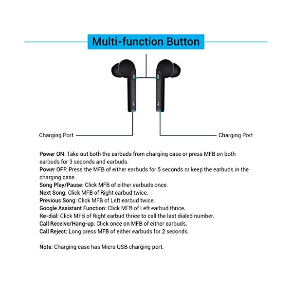 51UyPJ32jYL pTron Bassbuds Lite V2 In-Ear True Wireless Bluetooth 5.0 Headphones with HiFi Deep Bass, Total 20Hrs Playtime, Ergonomic Sweatproof Earbuds, Noise Isolation, Voice Assistance & Built-in Mic - (Black)