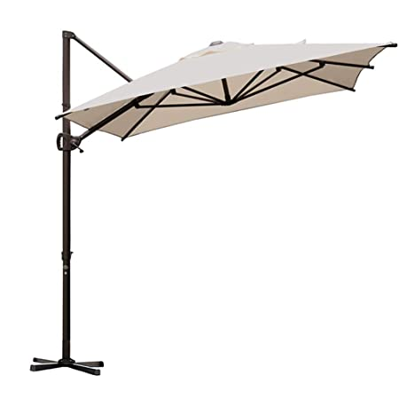 Abba Patio Rectangular Offset Cantilever Outdoor Patio Hanging Umbrella with Cross Base, 9 by 7-Feet, Sand