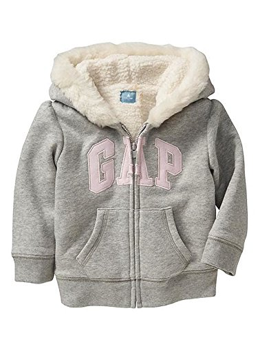 GAP Baby Girls Pink Faux Furr Trim Logo Full Zip Hoodie Sweatshirt (12-18 Months)