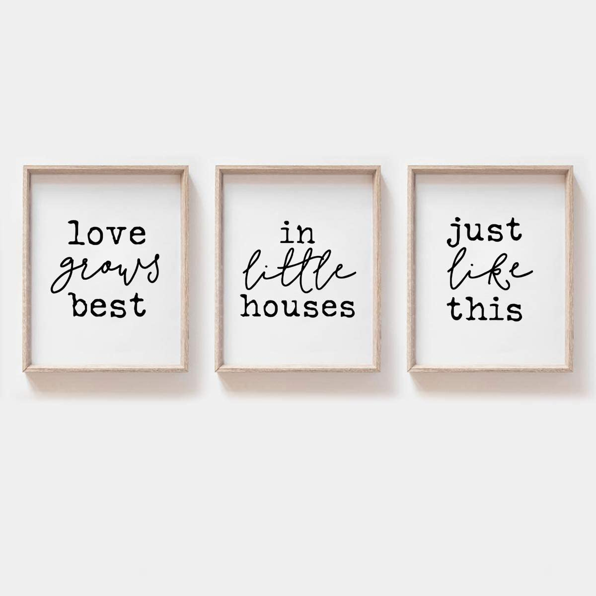 MoharWall Bedroom Wall Prints Love Quotes Wall Art, Love Grows Best in Little Houses Just Like This, House Living Room Décor
