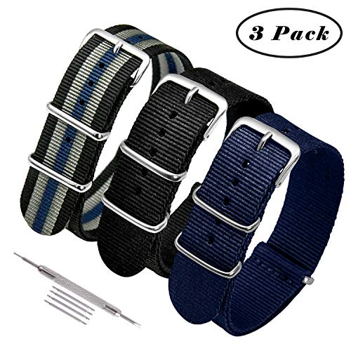 Pack Ballistic Nylon Replacement Watch Bands Military Canvas with Stainless Steel Buckle for Men Casual Classic Watches Accessories 20mm 22mm ()