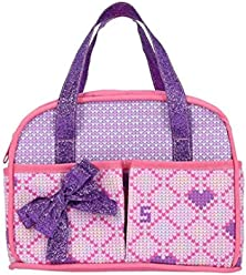 Neonate Nerlie Pink and Purple Diaper Bag Set with Baby Powder, Baby Food, and