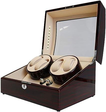 Caja para Relojes Automáticos Doble de Madera Enrollador automático de Relojes 4 + 6 Cajas de Almacenamiento para 10 Relojes Watch Winder (sin Reloj): Amazon.es: Hogar