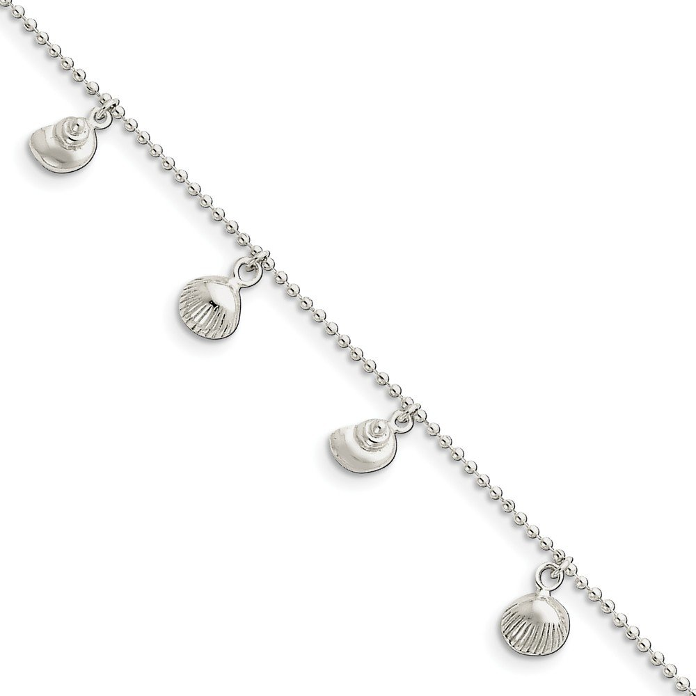 Sterling Silver Jewelry Anklets with Stations Anklets Solid Polished Sea Shell Anklet
