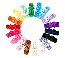 Ema Jane - Grosgrain Hair Bows with Matching Crochet Headbands (Set of 16 Bows + 16 Headbands, 32 Set))