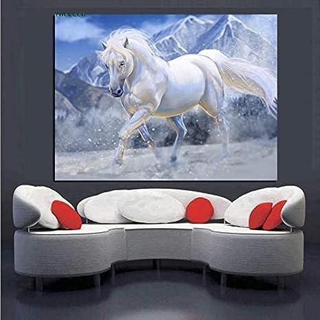 sanzangtang Pintura sin Marco HD Caballo Blanco Corriendo sobre Lienzo Pintura al óleo Caballo minimalismo Animal Moderno Arte de la paredCGQ5509 20X30cm