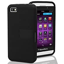 GreatShield Legacy Series Ultra Slim Fit Dual Layer Hybrid PC + Silicone Case with Kickstand for Blackberry Z10 (Black/Black)