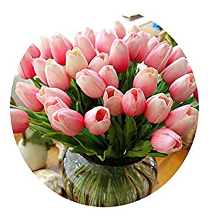 Miao Express 31pcs/lot PU Fake Artificial Flower Bouquet Real Touch Silk Tulip Flowers for Party Wedding Home Decoration Flower 36