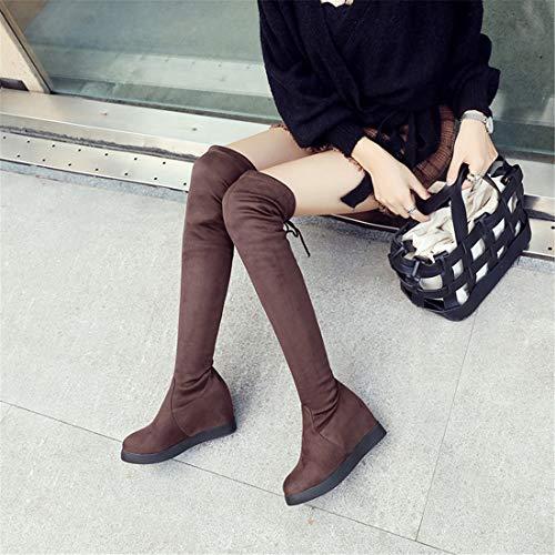 el el Invierno Botas y otoño de Ante Moda Sandalette en DEDE brown De qvwtfA