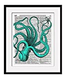 """Blue Octopus 11x14 Inch Reproduction Vintage Dictionary Art Print With """"Octopus"""" Definition - Unframed"""