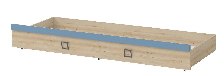 Bettkasten für Einzelbett / Gästebett, Farbe: Buche / Blau - 80 x 190 cm (B x L)