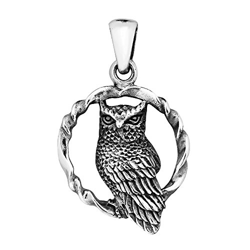 AeraVida Twisted Circle Sitting Wise Owl .925 Sterling Silver Pendant