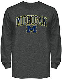 Michigan Wolverines Mens Long Sleeve T Shirt Charcoal