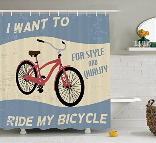 1960s Decorations Collection, Quality Bike Tour Joy Vintage Polyester Fabric Bathroom Shower Curtain