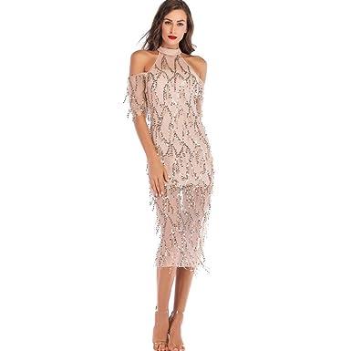 dbd1c3470c2 2019 New Women Off Shoulder Cocktail Prom Gown Dress Lace Halter Half  Sequin Tassel Cocktail Maxi Long Dress at Amazon Women s Coats Shop