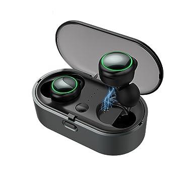 Mini 3D estéreo inalámbrico Bluetooth v 4,2 auriculares, bajo pesado en el oído auriculares con micrófono, recargables auriculares supresión de ruido para ...