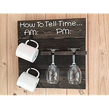 Amazon Com How To Tell Time Am Pm Rustic Wooden Coffee