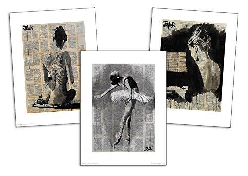 Close Up Loui Jover Art Print Set of 3 Her Finest Moment, Her Sonata und Path (30cm x 40cm) + 1 Pack tesa powerstrips, 20 Pieces