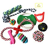 Hegu Dog Rope Toys 10 Pack Set Pet Puppy Teething Chew Rope Tug Assortment for Small Medium Large Dogs Durable with IQ Treat Ball