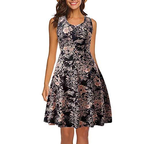 Casual Floral Summer Sleeveless Dress for Women Black