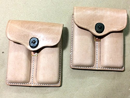 WWII US NATURAL Leather .45 Double Magazine Pouch Repro. x 2 (Magazine Unit)