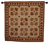 Autumn Leaves Wall Hanging Quilt 44 Inches by 44 Inches 100% Cotton Handmade Hand Quilted Heirloom Quality