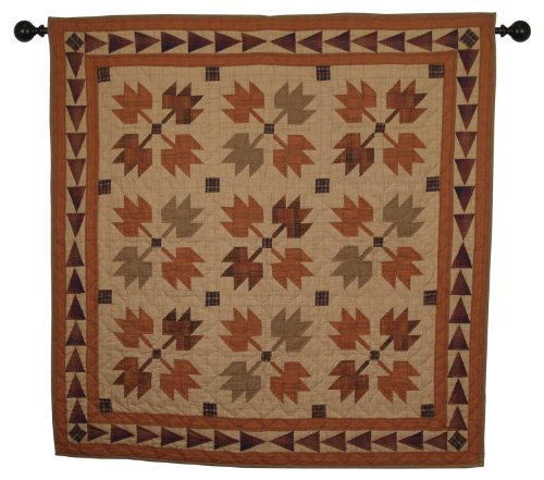 Autumn Leaves Wall Hanging Quilt 44 Inches by 44 Inches 100% Cotton Handmade Hand Quilted Heirloom Quality (Country Quilt Wall Hanging compare prices)