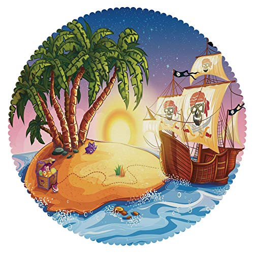iPrint Beautiful Round Tablecloth [ Pirate,Treasure Island with Palm Trees Fantastic Night Sky Pirate Ship Flags Wavy Ocean Decorative,Multicolor ] Home Accessories Set