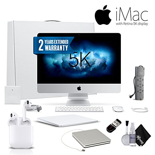 Apple iMac MNE92LL/A 27 Inch, 3.4 GHz Intel Core i5, 8GB RAM, 1TB Fusion Drive, Silver Executive Bundle With Magic TrackPad 2, Warranty, Apple Superdrive, Apple AirPods and More.