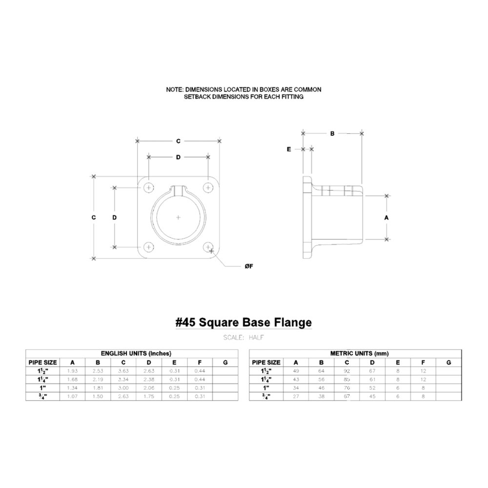 1-1/4 Inch Pipe, Base Flange, Aluminum Alloy Pipe Rail Fitting