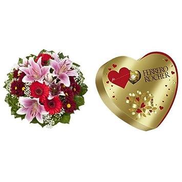 Blumenstrauß Charlotte mit rosa Lilien + Ferrero Rocher Herz, (1 x ...