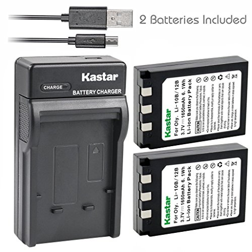 Kastar Battery (X2) & Slim USB Charger for Olympus LI-10B, LI-12B and Olympus Stylus 300, 400, 500, 600, 800, C-50, 60, 70, 470, 760, 770, 5000, Camedia Series, Sanyo Xacti Series Camera (Digital Camera 400 Battery)