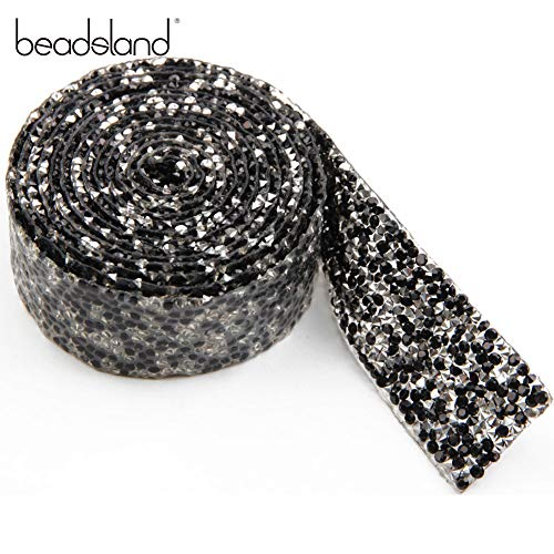 Resin Rhinestone Trim Hotfix Strass Crystal Mesh Banding Bridal Beaded Applique in Roll 2yardsx3cm for Dresses Shoes(Black+Silver Plating)