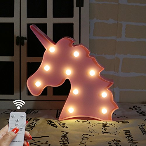 Light Pink Gift (DELICORE Battery Operated Night Light LED Marquee Sign with Wireless Remote Control for Kids' Room, Bedroom, Gift, Party, Home Decorations (Pink Unicorn Head))
