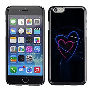 X-ray Impreso colorido protector duro espalda Funda piel de Shell para Apple iPhone 6 Plus(5.5 inches)- Love Black Neon Blue Pink