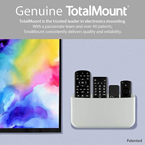 TotalMount Hole-Free Remote Holder - Eliminates Need to Drill Holes in Your Wall (for three or 4 Remotes - White - Quantity 1)