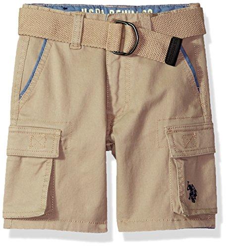 (U.S. Polo Assn. Boys' Toddler' Short, Stretch Cotton Twill Cargo Light Khaki, 2T)
