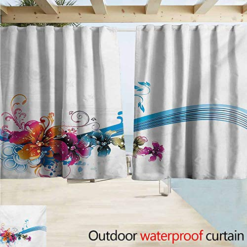 (Zmacdk Floral Home Patio Outdoor Curtain Abstract Fantasy Blossoms Border Colorful and Grunge Display Spring Leaves Swirls Perfect for Your Patio, Porch, Gazebo, or Pergola W55 xL72 Multicolor)