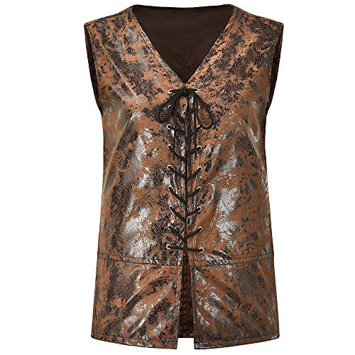 Sex icon Men's Large Size Renaissance Gothic Steampunk Vest (Brown, S) -